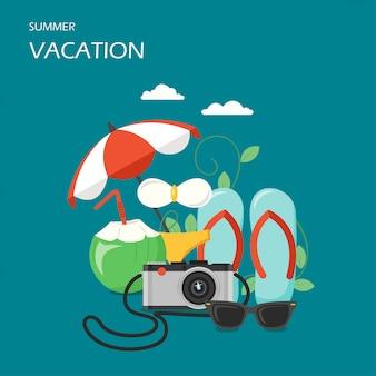 Ilustración de diseño de estilo plano de vector de vacaciones de verano