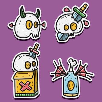 Ilustración de diseño de etiqueta engomada de halloween de dibujos animados kawaii