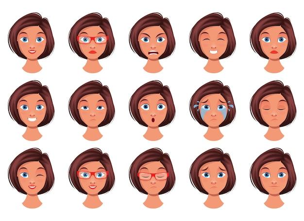 Ilustración de diseño de expresión de cara de mujer aislada