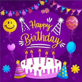 Ilustración de diseño de feliz cumpleaños de tarjeta