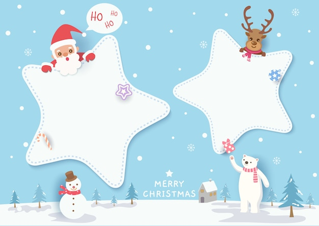 Ilustración del diseño de feliz navidad con marco de estrella, santa calus, renos, oso polar, muñeco de nieve en nevado.