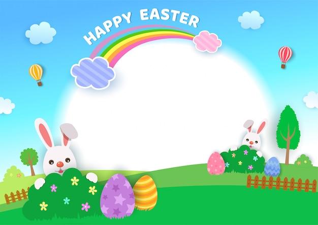 Ilustración del diseño del festival happy easter con conejos y huevos en el fondo de la naturaleza
