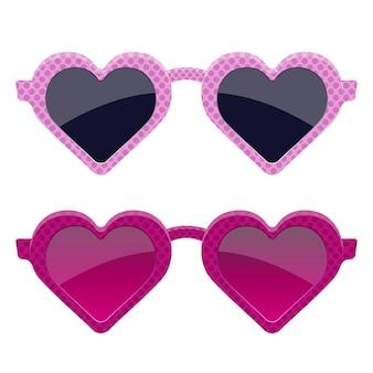 Ilustración de diseño de gafas de corazón rosa elegante aislado sobre fondo blanco
