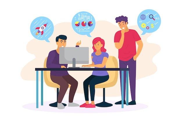 Ilustración con diseño de gente de negocios