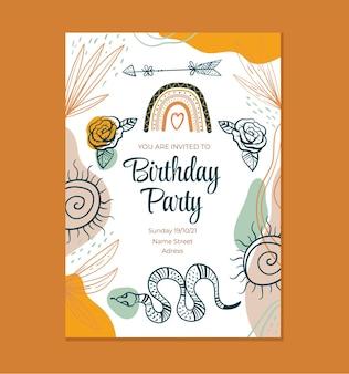 Ilustración de diseño gráfico de plantilla de invitación de cumpleaños de estilo boho