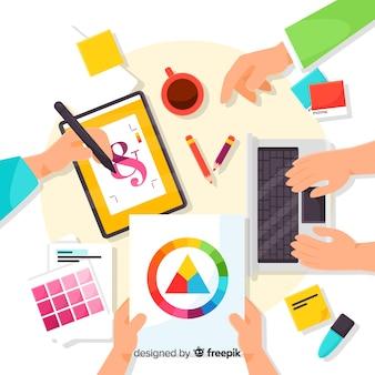 Ilustración de diseño gráfico de trabajo en equipo