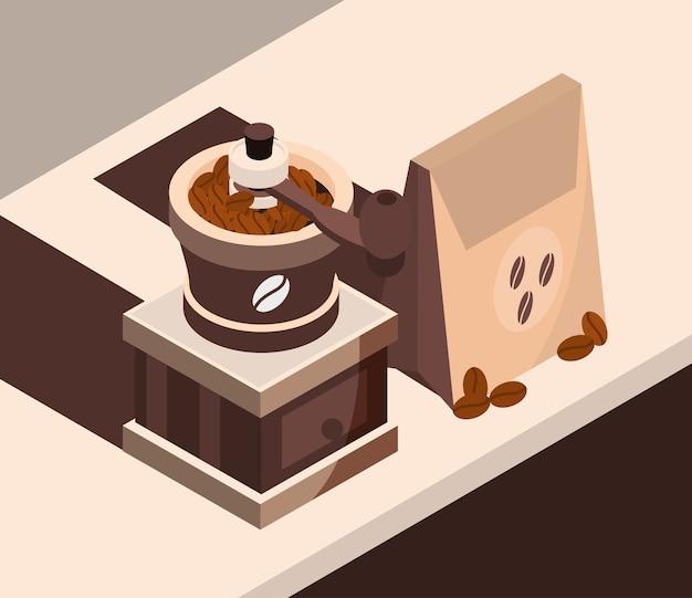 Ilustración de diseño de icono isométrico de máquina tostadora de café y paquete