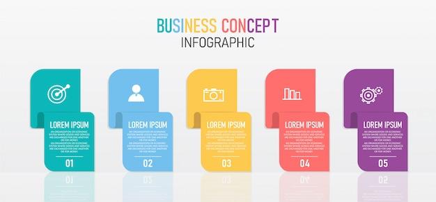 Ilustración de diseño infográfico para procesos modernos en forma de presentaciones, pancartas, gráficos, aplicaciones empresariales y educativas.