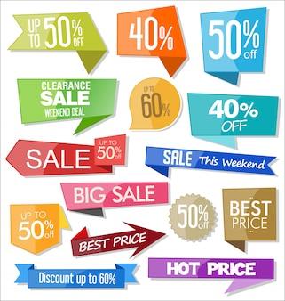 Ilustración de diseño de insignias y pegatinas coloridas de venta