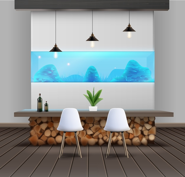 Ilustración de diseño de interiores en estilo eco-minimalista con mesa de madera y acuario