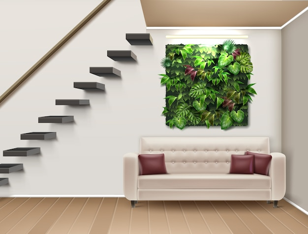 Ilustración de diseño de interiores con jardín vertical, sofá y escalera moderna