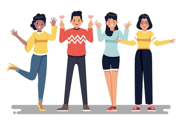 Ilustración con diseño de jóvenes