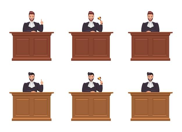 Ilustración de diseño de juez hombre aislado sobre fondo blanco.