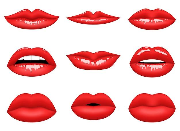 Ilustración de diseño de labios de mujer roja aislada sobre fondo blanco