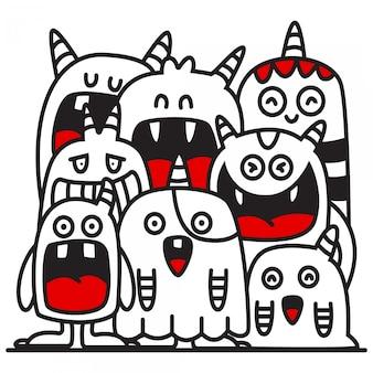 Ilustración de diseño lindo monstruo doodle