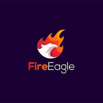 Ilustración de diseño de logo de águila de fuego