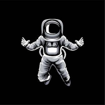 Ilustración de diseño de logo de astronauta