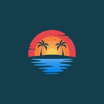Ilustración de diseño de logo de paisaje puesta de sol de playa