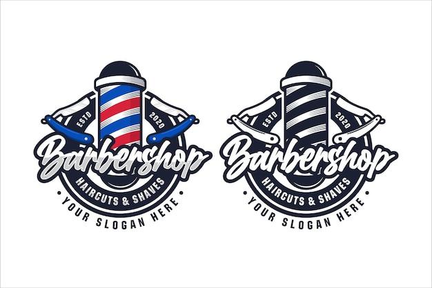 Ilustración de diseño de logotipo de barbería aislado