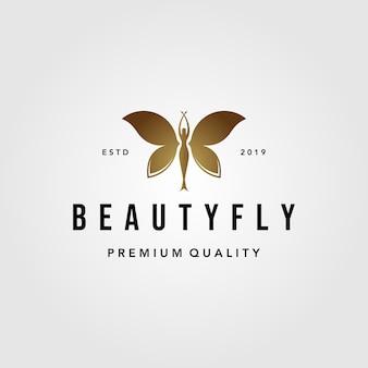 Ilustración de diseño de logotipo de belleza mujer mariposa volando