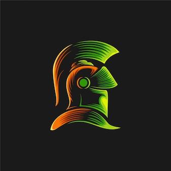 Ilustración de diseño de logotipo de caballero espartano