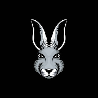 Ilustración de diseño de logotipo de cabeza de conejo