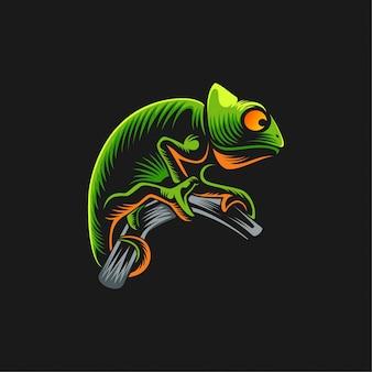 Ilustración de diseño de logotipo camaleón