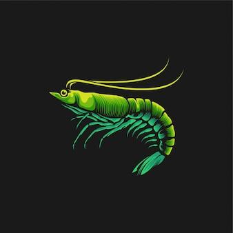 Ilustración de diseño de logotipo de camarones