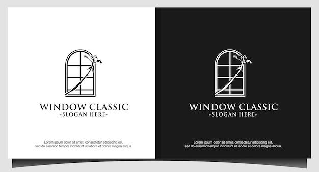 Ilustración de diseño de logotipo clásico de ventana
