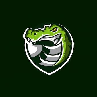 Ilustración de diseño de logotipo de cocodrilo