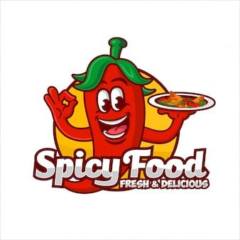 Ilustración de diseño de logotipo de comida picante