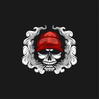 Ilustración de diseño de logotipo de cráneo vape