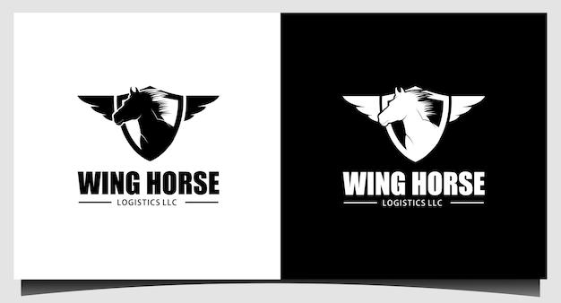 Ilustración de diseño de logotipo de emblema de caballo volador