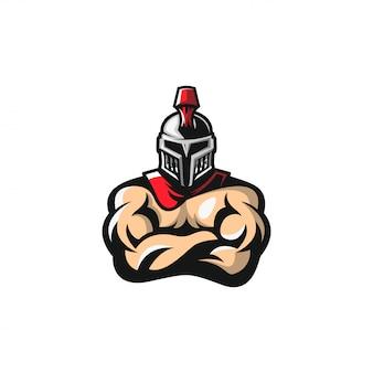 Ilustración de diseño de logotipo espartano