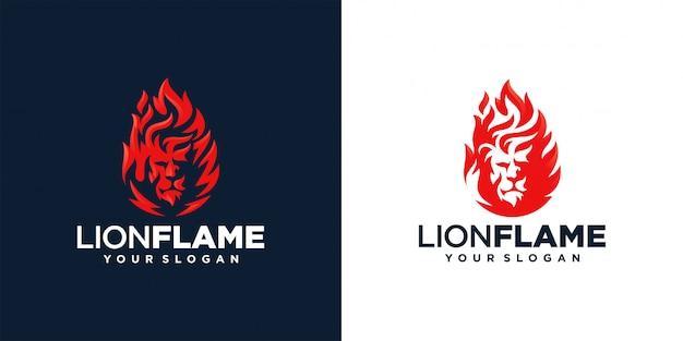 Ilustración de diseño de logotipo de fuego de llama de león