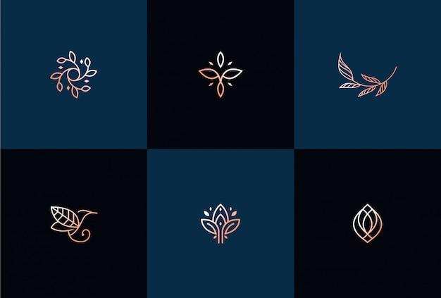 Ilustración de diseño de logotipo de hoja abstracta de lujo