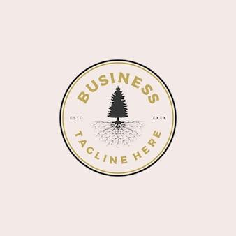 Ilustración de diseño de logotipo de insignia de raíz de árbol de pino