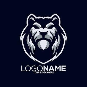 Ilustración de diseño de logotipo de león