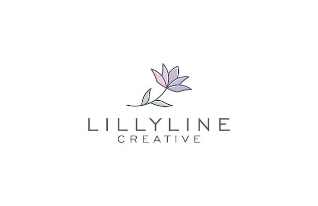 Ilustración de diseño de logotipo de lilly line art