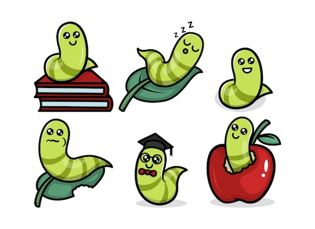 Ilustración de diseño de logotipo de mascota animal lindo gusano oruga