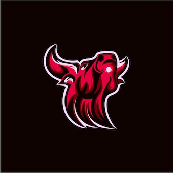 Ilustración de diseño de logotipo de mascota de búfalo