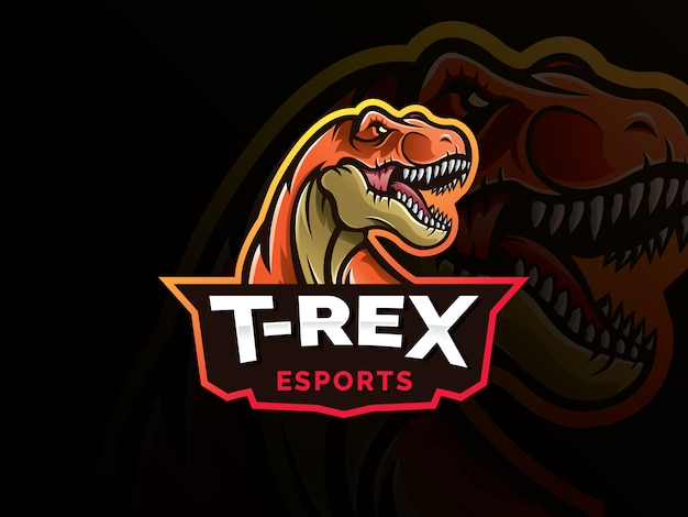 Ilustración de diseño de logotipo de mascota de deporte de dinosaurio