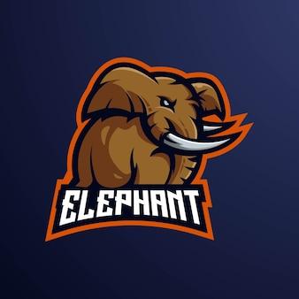 Ilustración de diseño de logotipo de mascota de elefante e-sport