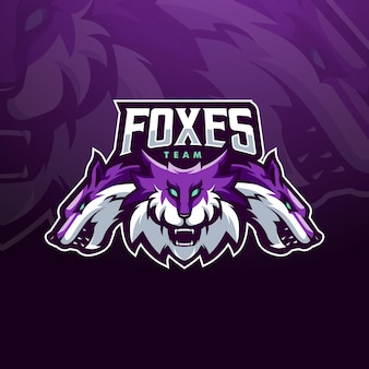Ilustración de diseño de logotipo de mascota foxes para el equipo de esports