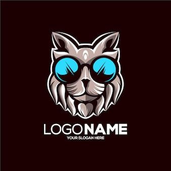 Ilustración de diseño de logotipo de mascota de gato impresionante