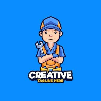 Ilustración de diseño de logotipo de mascota de mecánico de taller