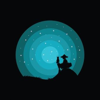 Ilustración del diseño del logotipo de un niño, silueta de un niño
