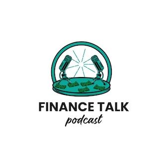 Ilustración de diseño de logotipo de podcast de charla de finanzas