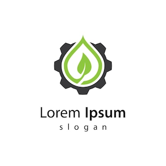 Ilustración de diseño de logotipo de tecnología ecológica