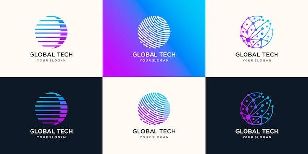Ilustración de diseño de logotipo de tecnología global